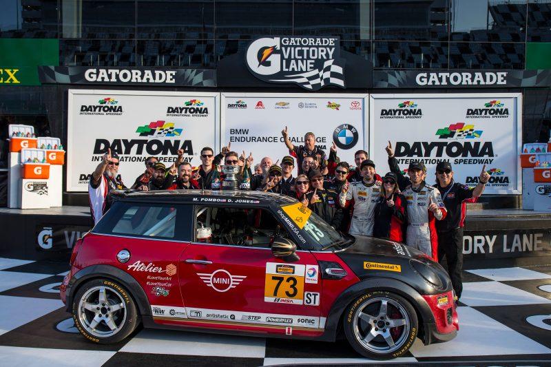 MINI JCW Team celebrates historic Daytona win in victory lane.